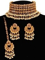 Nizami Pearl & Golden Choker - Zahiba NENA11053 Indian Jewellery