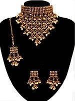 Nizami Pearl & Golden Tired Choker with Hanging Web - Jaali-Waali NENA11054 Indian Jewellery