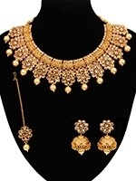 Champagne Diamond Flower Necklace, Jhumka & Tikka NENA11056 Indian Jewellery