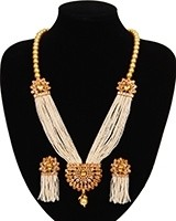 Champagne Pearl Mala with Tassel Earrings NENA11057 Indian Jewellery