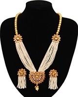 Champagne Pearl Mala with Tassel Earrings NENA11057 Indian Jewellery