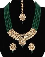 Beaded Kundan Mala Jewellery Set NEGA11059 Indian Jewellery