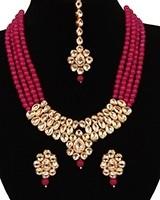 Beaded Kundan Mala Jewellery Set NERA11060 Indian Jewellery
