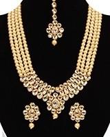 Beaded Kundan Mala Jewellery Set NEWA11061 Indian Jewellery
