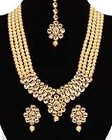 Beaded Kundan Mala Jewellery Set NEWA11062C Indian Jewellery