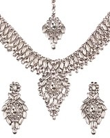 Statement Silver Kundan Necklace Set NSWK11067C Indian Jewellery