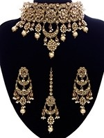 Antique American Diamond Bridal Choker Jewellery - Champagne NANA11084 Indian Jewellery