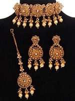 22k plated Indian Jewellery Set - American Diamond Choker NENA11089 Indian Jewellery