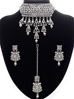 Silver Indian Jewellery Set - Kashmiri American Diamond Choker NSWA11090 Indian Jewellery