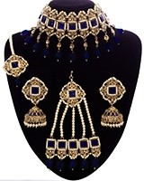 Regal Pakistani Jewellery Set - Choker, Jhumki, Tikka & Jhumar Royal Blue NAPC11343 Indian Jewellery