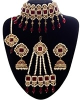 Pearl Indian Jewellery Set - Choker, Jhumki, Tikka & Jhumar NANC11097C Indian Jewellery