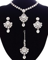 Delicate silver crystal necklace set - Shabnam NSWC11132C Indian Jewellery