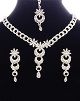 Dainty Crystal Indian Necklace Set NSWC11147 Indian Jewellery