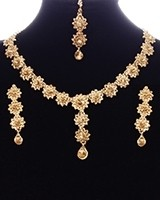 Delicate Flower Champagne Crystal Indian Jewellery Set NANC11149 Indian Jewellery