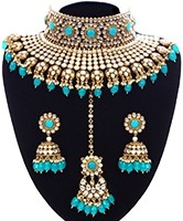 Turquoise Sabyasachi Inspired Bridal Jewellery Set NELK11344 Indian Jewellery