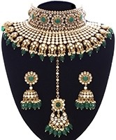 Green Sabyasachi Inspired Bridal Jewellery Set NEGK11157 Indian Jewellery