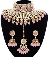 Baby Pink Sabyasachi Inspired Bridal Jewellery Set NEPK11345 Indian Jewellery