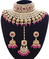 Rani Pink Sabyasachi Inspired Bridal Jewellery Set NEPK11158 Indian Jewellery