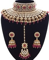 Ruby Maroon Sabyasachi Inspired Bridal Jewellery Set NERK11159 Indian Jewellery