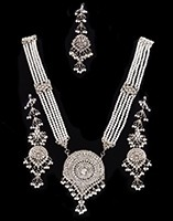 Nizami Crystal & Pearl Long Haar Set in Silver NSWC11162 Indian Jewellery