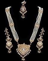 Nizami Crystal & Pearl Long Haar Set in Antique Gold NAWC11163 Indian Jewellery