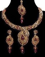 Bright Red, Antique Gold, Asymmetric Necklace Set NARP11189 Indian Jewellery