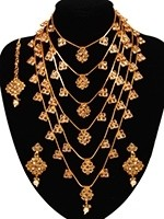 Golden Multi-stranded Large Full-Chest Webbed Haar NENA11055 Indian Jewellery