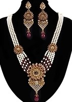 Rajasthani Floral Multi-Strand Maroon Necklace Set NERC11191 Indian Jewellery