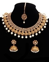 Classic Elegance Indian Pearl Matt Gold Plated Necklace Set NENA11193 Indian Jewellery