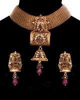 Antique Mesh Heritage Indian Choker Necklace Set NARA11195 Indian Jewellery