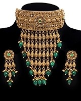 22k Effect Champagne Diamond Tiered Choker - Green NEGA11196 Indian Jewellery