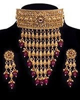 22k Effect Champagne Diamond Tiered Choker - Deep Ruby NERA11197 Indian Jewellery