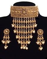 22k Effect Champagne Diamond Tiered Choker - Pearl NENA11198 Indian Jewellery