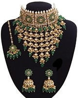 Sabyasachi Indian Statement Floral Kundan Jewellery Set - Green NEGK11200 Indian Jewellery