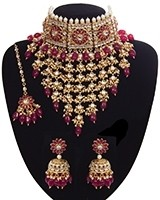 Sabyasachi Indian Statement Floral Kundan Jewellery Set - Ruby NERK11201 Indian Jewellery