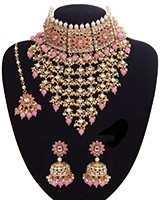 Sabyasachi Indian Statement Floral Kundan Jewellery Set - Baby Pink NEPK11202 Indian Jewellery