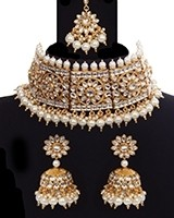 Indian Floral Kundan Choker & jhumki Jewellery Set NEWK11207C Indian Jewellery