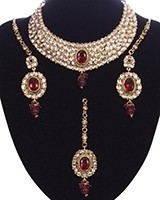 Striking Mughal Kundan Necklace Set NAWK11215C Indian Jewellery