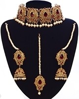 Antique & Pearl Indian Jewellery Set - Maroon Red NARC11222 Indian Jewellery