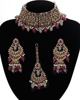 Mughal Antique American Diamond Choker Set - Ruby & Grey NAEA11262 Indian Jewellery