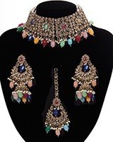 Mughal Antique American Diamond Choker Set - Multi-coloured NAMA11265 Indian Jewellery