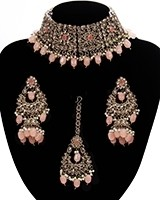 Mughal Antique American Diamond Choker Set - Peach NAPA11268 Indian Jewellery