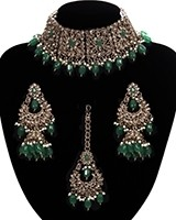 Mughal Antique American Diamond Choker Set - Green NAGA11270 Indian Jewellery