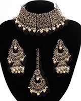 Mughal Antique American Diamond Choker Set - Pearl NAWA11274 Indian Jewellery