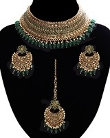 Green American Diamond, Antique Indian Choker Jewellery Set BAGA11282 Indian Jewellery