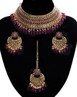 Ruby Pink American Diamond, Antique Indian Choker Jewellery Set BARA11283 Indian Jewellery