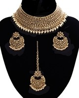 Pearl American Diamond, Antique Indian Choker Jewellery Set BANA11284 Indian Jewellery