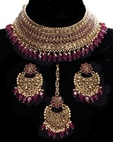 Indian CZ Diamond, Antique Choker Jewellery Set BANA11285C Indian Jewellery