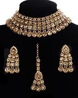 Flexible Champagne Choker & Collar Necklace Set - PARI NANC11286C Indian Jewellery