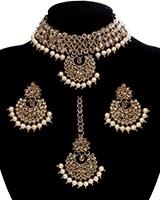 Champagne CZ Indian Choker Necklace Set NANA11294 Indian Jewellery